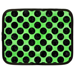 Circles2 Black Marble & Green Watercolor (r) Netbook Case (xl)