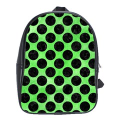 Circles2 Black Marble & Green Watercolor (r) School Bag (large)