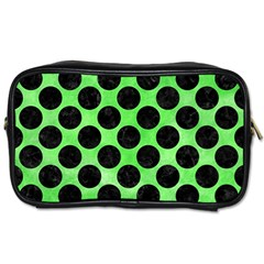 Circles2 Black Marble & Green Watercolor (r) Toiletries Bags