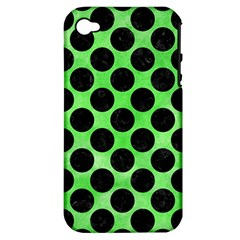 Circles2 Black Marble & Green Watercolor (r) Apple Iphone 4/4s Hardshell Case (pc+silicone)