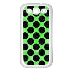 Circles2 Black Marble & Green Watercolor (r) Samsung Galaxy S3 Back Case (white)