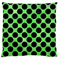 Circles2 Black Marble & Green Watercolor (r) Large Flano Cushion Case (one Side)