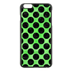 Circles2 Black Marble & Green Watercolor (r) Apple Iphone 6 Plus/6s Plus Black Enamel Case