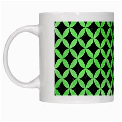 Circles3 Black Marble & Green Watercolor White Mugs