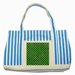 Circles3 Black Marble & Green Watercolor Striped Blue Tote Bag