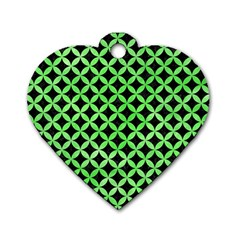 Circles3 Black Marble & Green Watercolor Dog Tag Heart (two Sides)