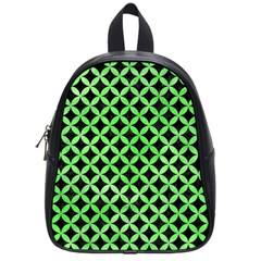 Circles3 Black Marble & Green Watercolor School Bag (small)