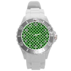 Circles3 Black Marble & Green Watercolor Round Plastic Sport Watch (l)