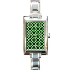 Circles3 Black Marble & Green Watercolor (r) Rectangle Italian Charm Watch