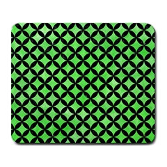 Circles3 Black Marble & Green Watercolor (r) Large Mousepads