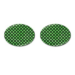 Circles3 Black Marble & Green Watercolor (r) Cufflinks (oval)