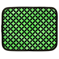 Circles3 Black Marble & Green Watercolor (r) Netbook Case (xxl)