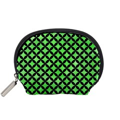 Circles3 Black Marble & Green Watercolor (r) Accessory Pouches (small)