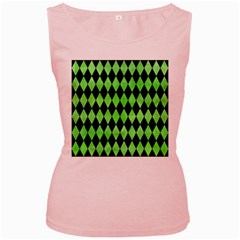 Diamond1 Black Marble & Green Watercolor Women s Pink Tank Top