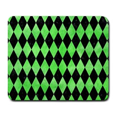 Diamond1 Black Marble & Green Watercolor Large Mousepads
