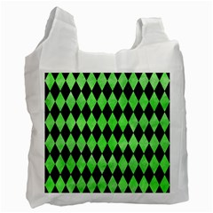Diamond1 Black Marble & Green Watercolor Recycle Bag (two Side)