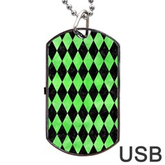 Diamond1 Black Marble & Green Watercolor Dog Tag Usb Flash (two Sides)