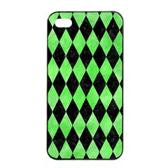 Diamond1 Black Marble & Green Watercolor Apple Iphone 4/4s Seamless Case (black)