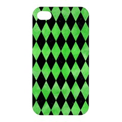 Diamond1 Black Marble & Green Watercolor Apple Iphone 4/4s Premium Hardshell Case