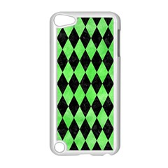 Diamond1 Black Marble & Green Watercolor Apple Ipod Touch 5 Case (white)