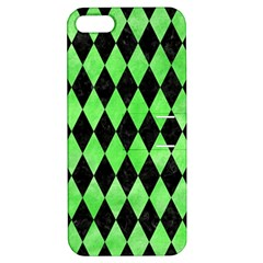 Diamond1 Black Marble & Green Watercolor Apple Iphone 5 Hardshell Case With Stand