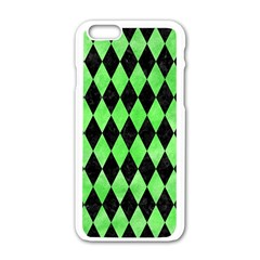Diamond1 Black Marble & Green Watercolor Apple Iphone 6/6s White Enamel Case