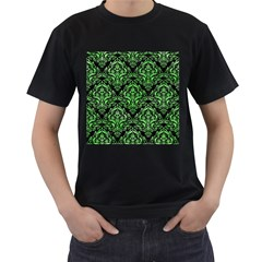 Damask1 Black Marble & Green Watercolor Men s T Shirt (black) (two Sided)