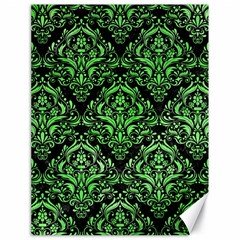Damask1 Black Marble & Green Watercolor Canvas 18  X 24