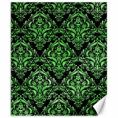 Damask1 Black Marble & Green Watercolor Canvas 20  X 24