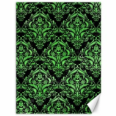 Damask1 Black Marble & Green Watercolor Canvas 36  X 48
