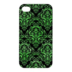 Damask1 Black Marble & Green Watercolor Apple Iphone 4/4s Premium Hardshell Case