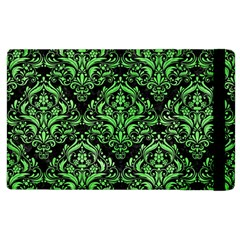 Damask1 Black Marble & Green Watercolor Apple Ipad 3/4 Flip Case