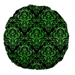 Damask1 Black Marble & Green Watercolor Large 18  Premium Round Cushions
