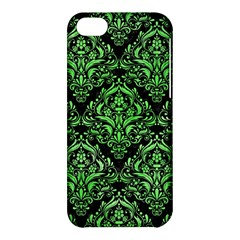 Damask1 Black Marble & Green Watercolor Apple Iphone 5c Hardshell Case