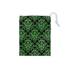 Damask1 Black Marble & Green Watercolor Drawstring Pouches (small)
