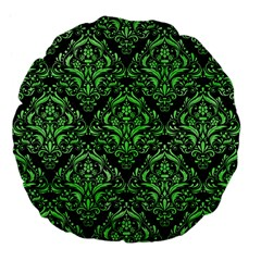 Damask1 Black Marble & Green Watercolor Large 18  Premium Flano Round Cushions