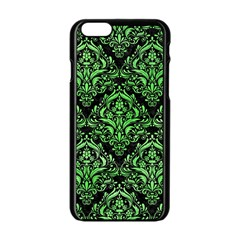 Damask1 Black Marble & Green Watercolor Apple Iphone 6/6s Black Enamel Case