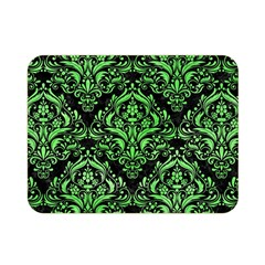 Damask1 Black Marble & Green Watercolor Double Sided Flano Blanket (mini)