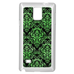 Damask1 Black Marble & Green Watercolor Samsung Galaxy Note 4 Case (white)