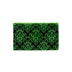 Damask1 Black Marble & Green Watercolor Cosmetic Bag (xs)