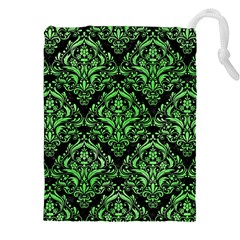 Damask1 Black Marble & Green Watercolor Drawstring Pouches (xxl)