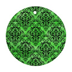 Damask1 Black Marble & Green Watercolor (r) Ornament (round)