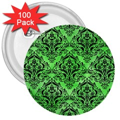Damask1 Black Marble & Green Watercolor (r) 3  Buttons (100 Pack)