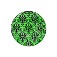Damask1 Black Marble & Green Watercolor (r) Rubber Round Coaster (4 Pack)