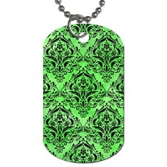 Damask1 Black Marble & Green Watercolor (r) Dog Tag (two Sides)
