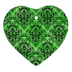 Damask1 Black Marble & Green Watercolor (r) Heart Ornament (two Sides)