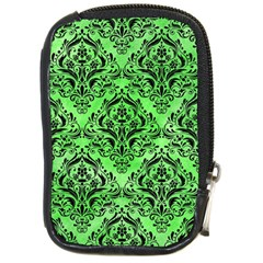 Damask1 Black Marble & Green Watercolor (r) Compact Camera Cases