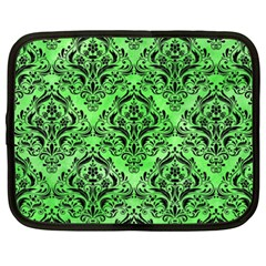 Damask1 Black Marble & Green Watercolor (r) Netbook Case (xxl)