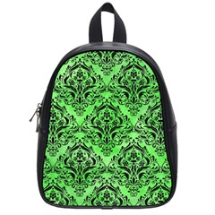 Damask1 Black Marble & Green Watercolor (r) School Bag (small)