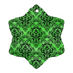 Damask1 Black Marble & Green Watercolor (r) Snowflake Ornament (two Sides)